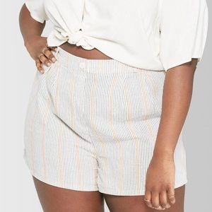 Wild Fable Striped Linen High Waisted Shorts